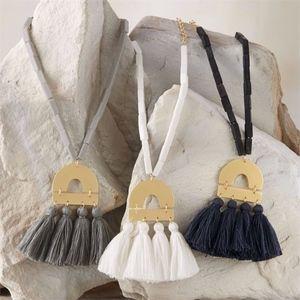 Mud Pie Metal Tassel Necklace Gold Chain White